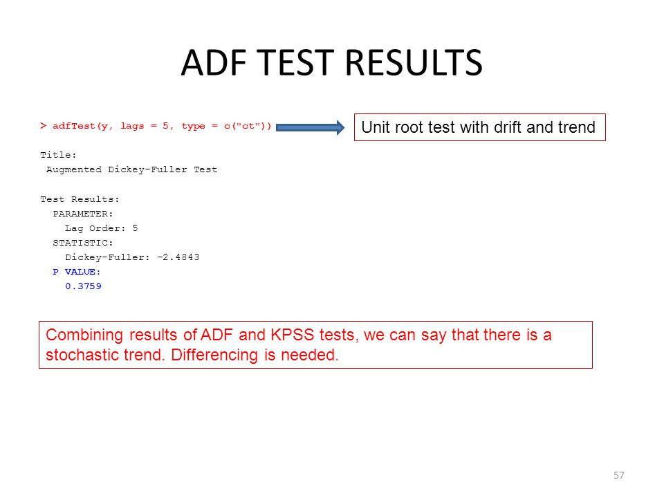ADF TEST RESULTS Unit root test with drift and trend