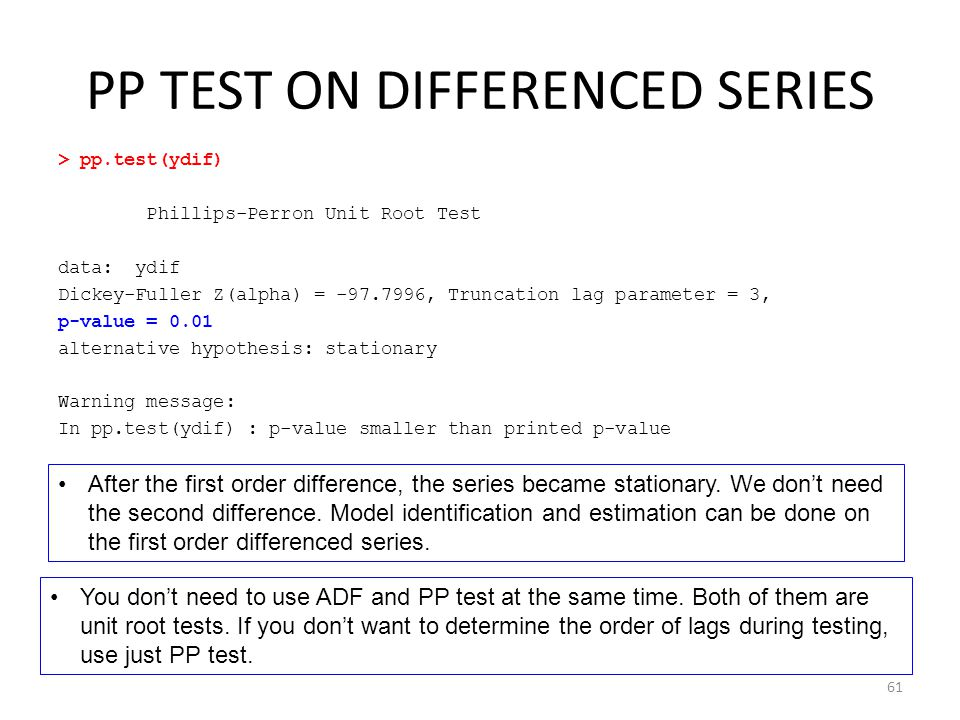 PP TEST ON DIFFERENCED SERIES