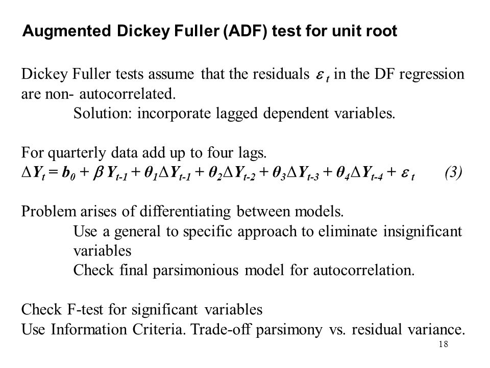 Augmented Dickey Fuller (ADF) test for unit root