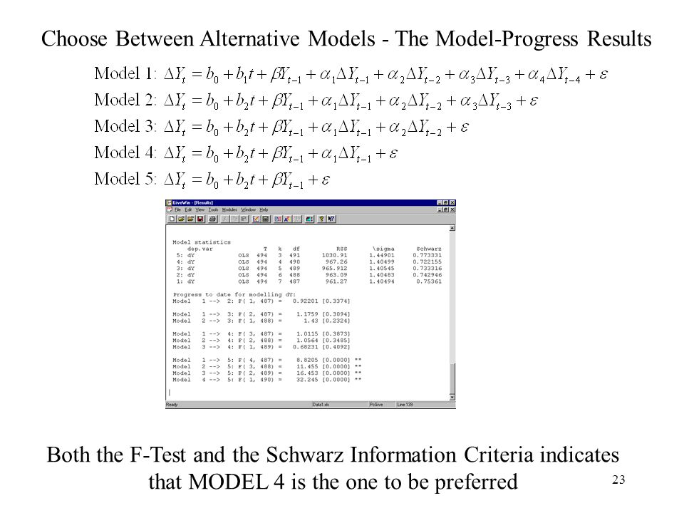 Choose Between Alternative Models - The Model-Progress Results
