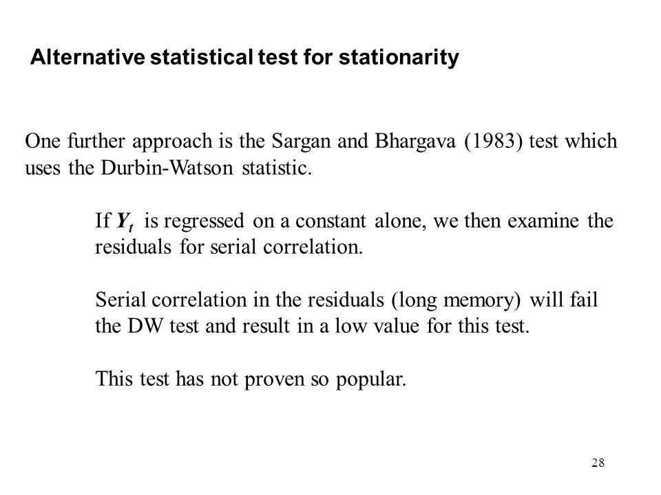 Alternative statistical test for stationarity