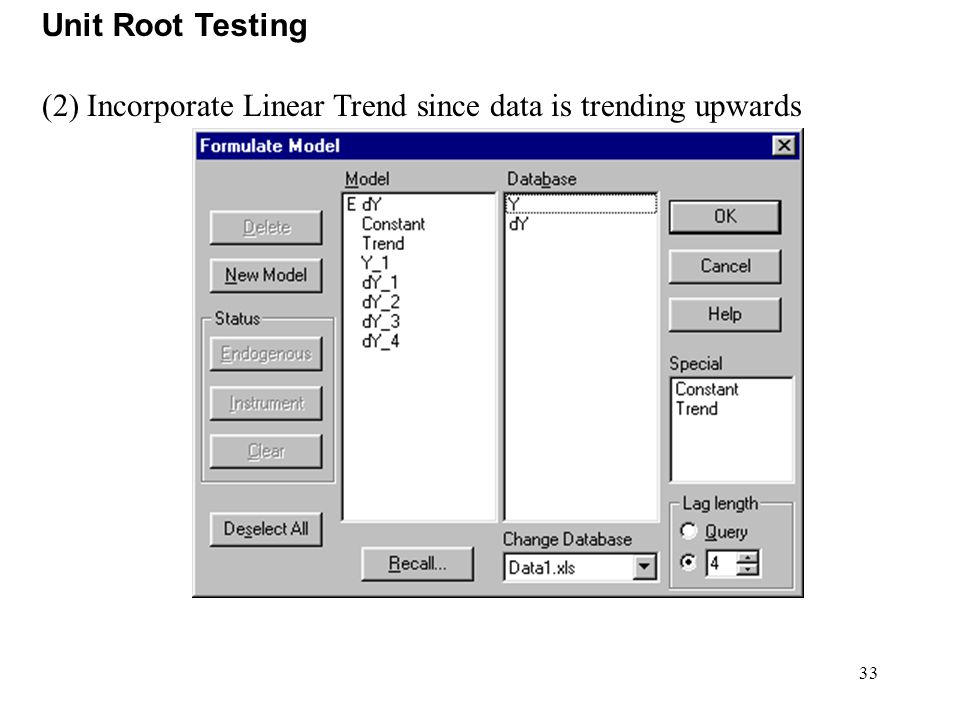 Unit Root Testing (2) Incorporate Linear Trend since data is trending upwards