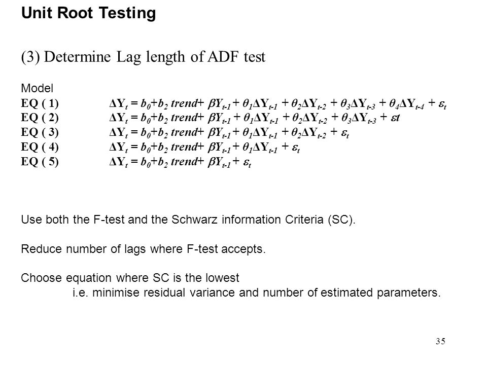 (3) Determine Lag length of ADF test