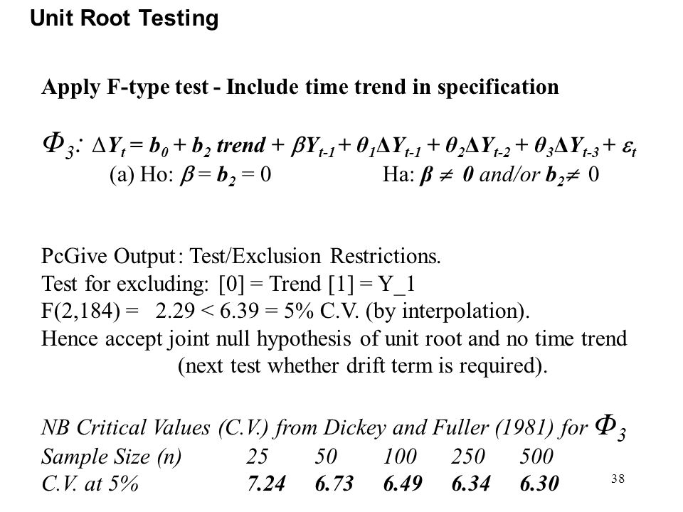 Unit Root Testing Apply F-type test - Include time trend in specification.