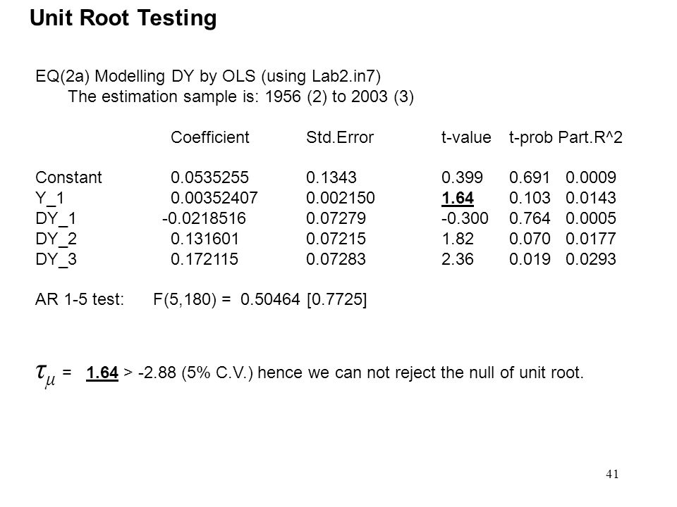 Unit Root Testing EQ(2a) Modelling DY by OLS (using Lab2.in7) The estimation sample is: 1956 (2) to 2003 (3)