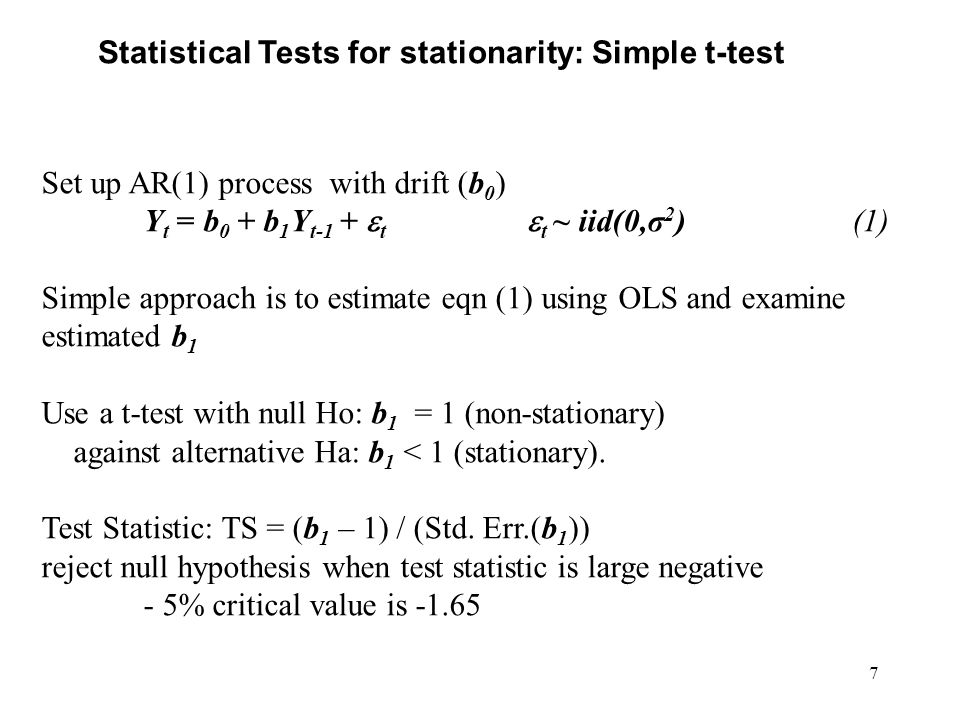 Statistical Tests for stationarity: Simple t-test