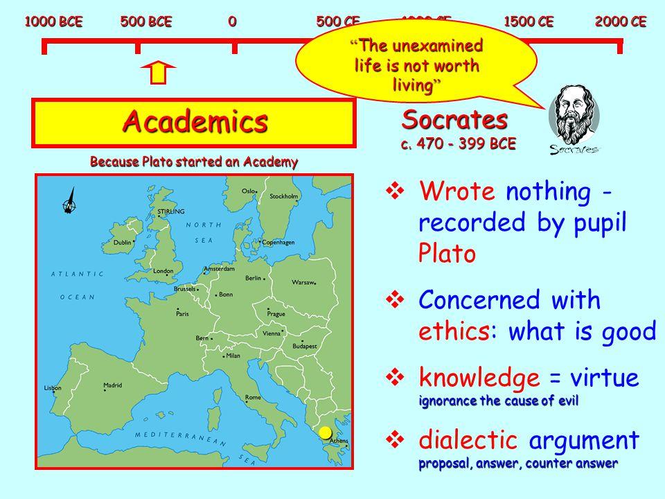 Academics Socrates c. 470 - 399 BCE