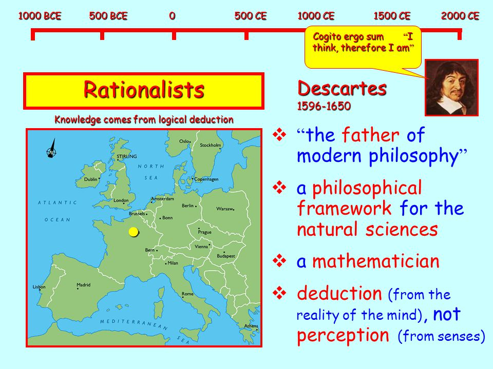Rationalists Descartes 1596-1650 the father of modern philosophy
