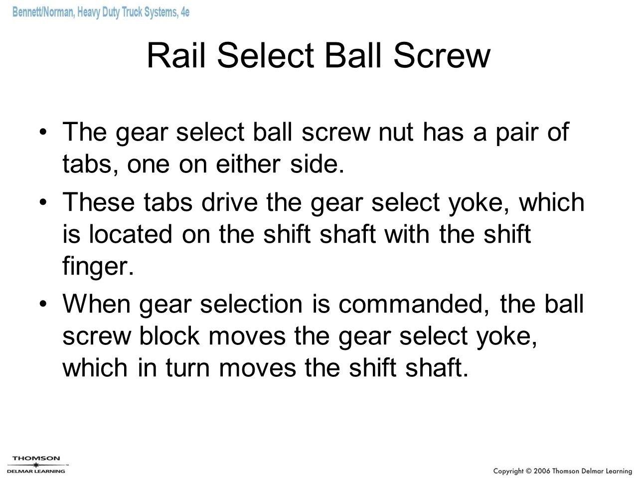 Rail Select Ball Screw The gear select ball screw nut has a pair of tabs, one on either side.