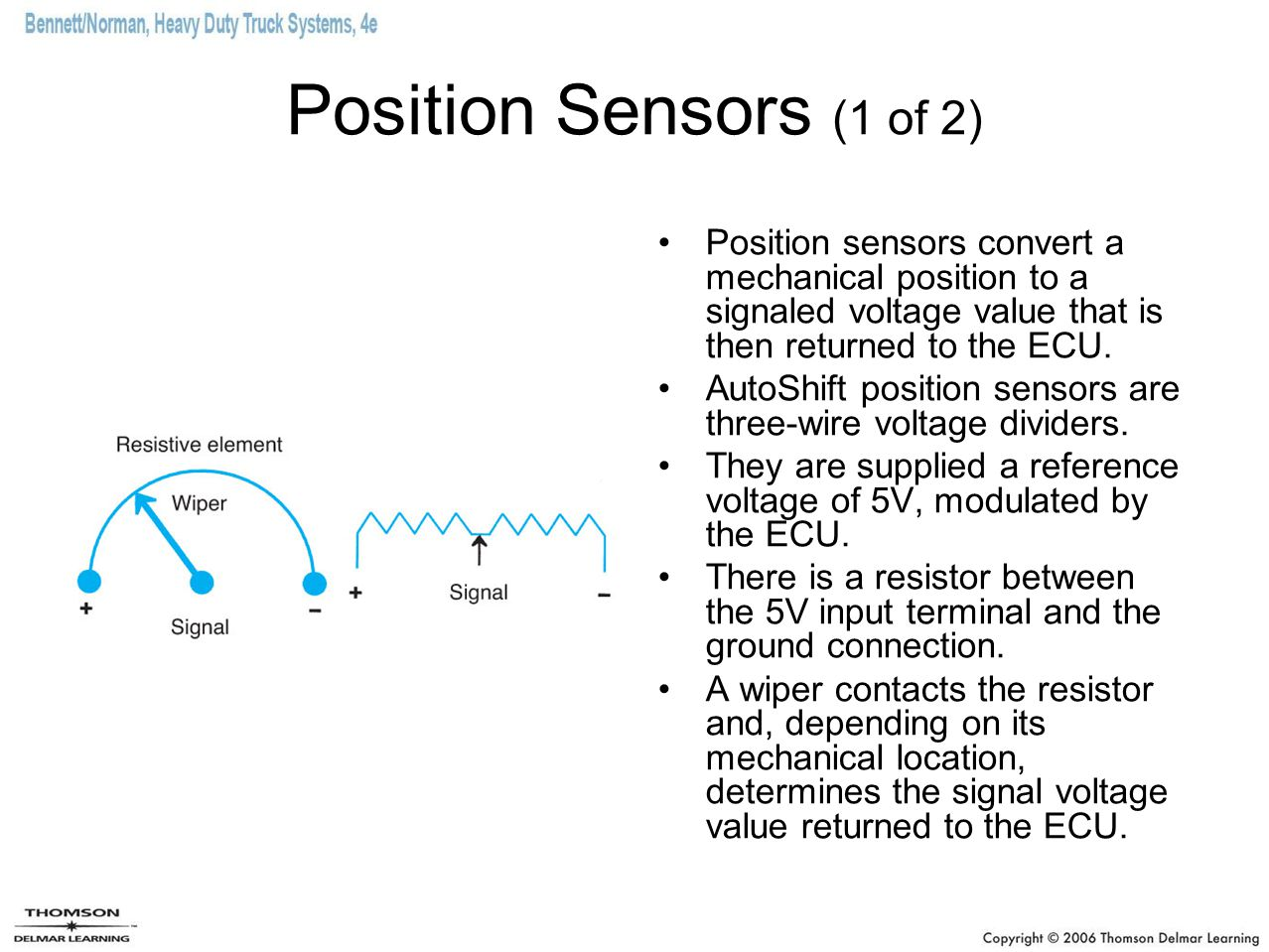 Position Sensors (1 of 2) Position sensors convert a mechanical position to a signaled voltage value that is then returned to the ECU.