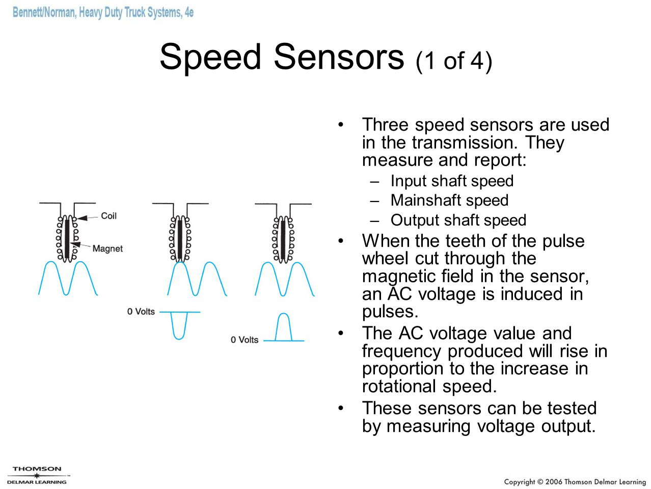 Speed Sensors (1 of 4) Three speed sensors are used in the transmission. They measure and report: Input shaft speed.