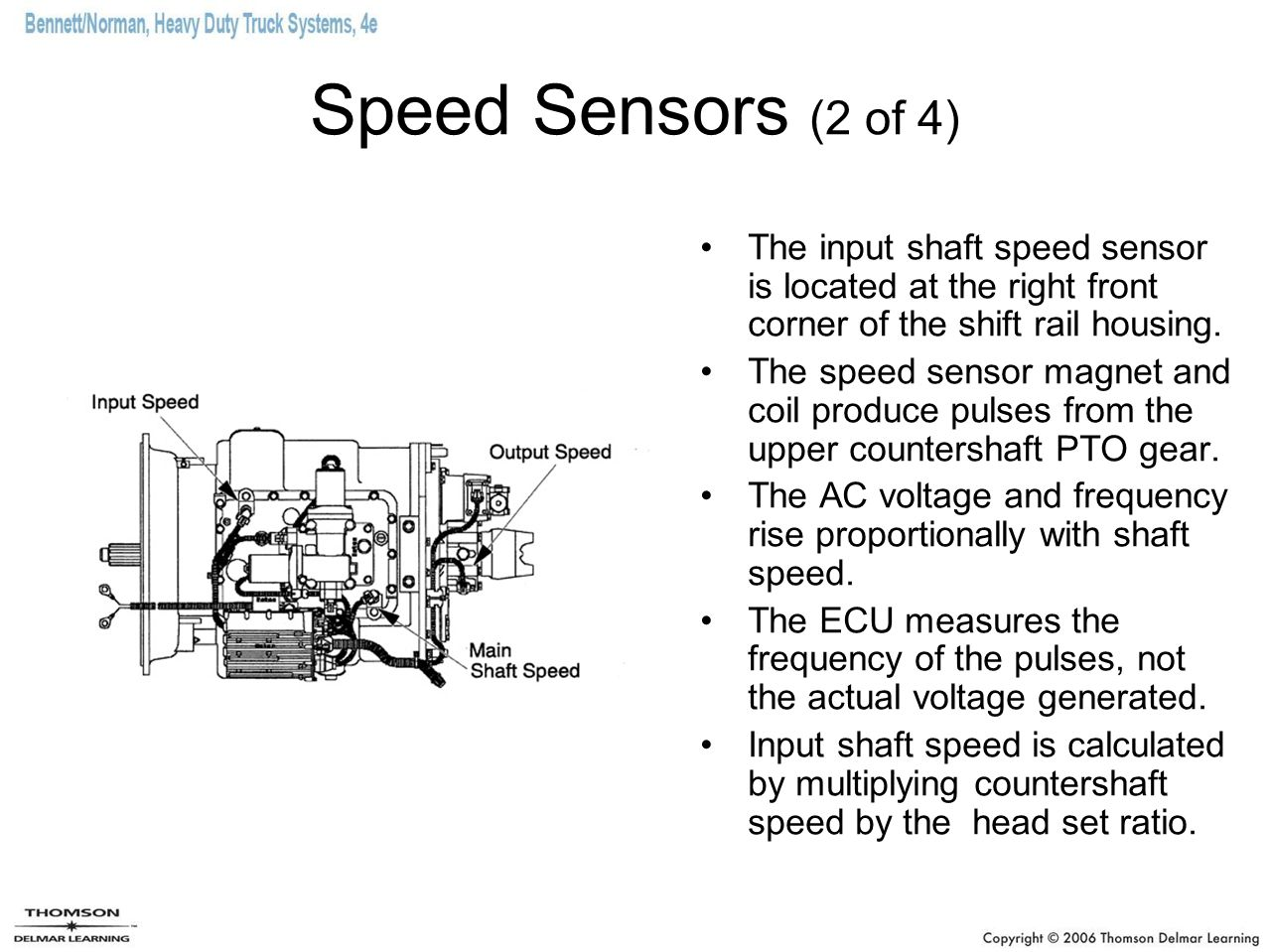Speed Sensors (2 of 4) The input shaft speed sensor is located at the right front corner of the shift rail housing.