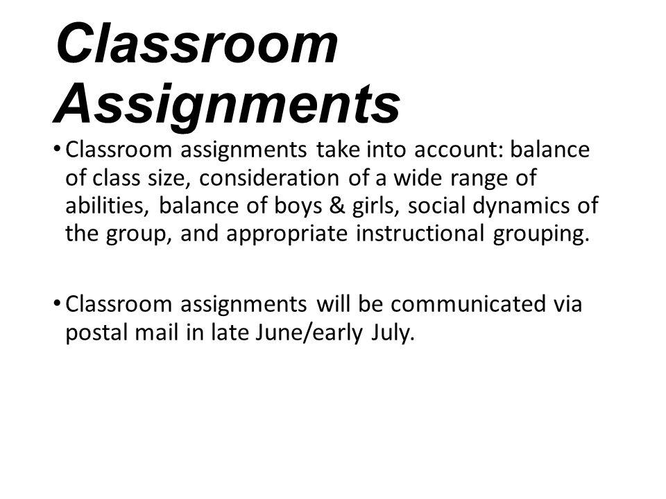 Classroom Assignments
