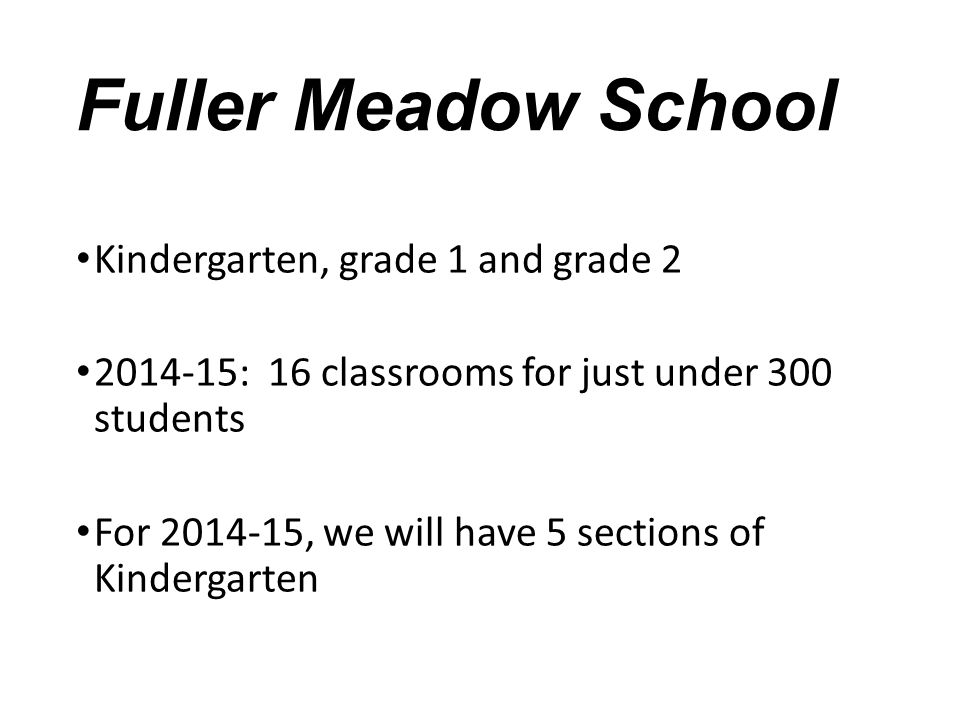 Fuller Meadow School Kindergarten, grade 1 and grade 2
