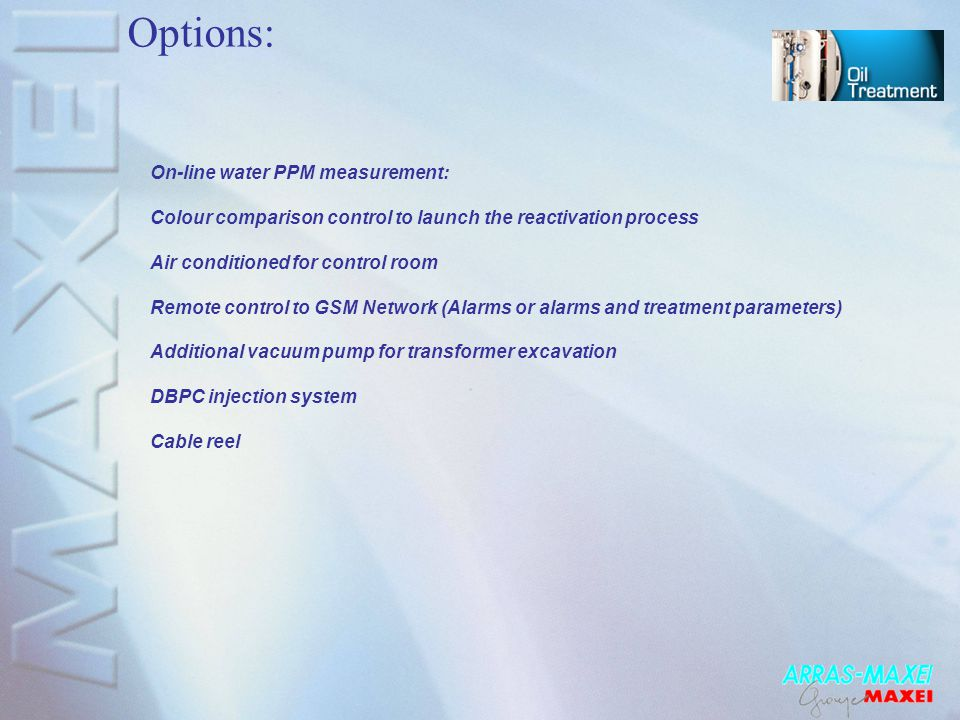 Options: On-line water PPM measurement: