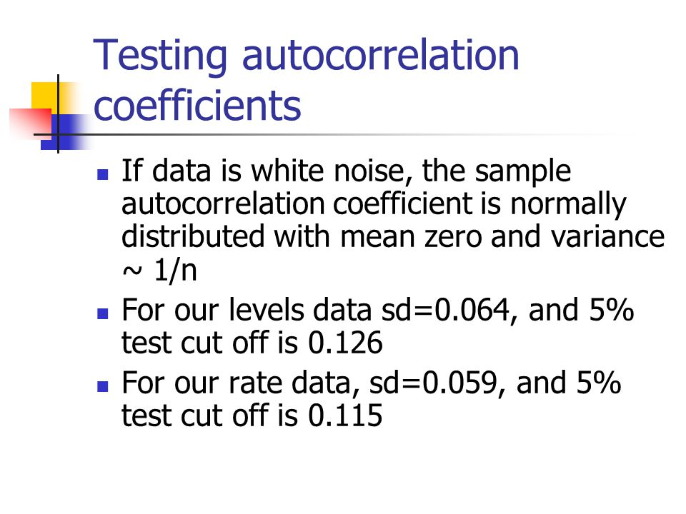 Testing autocorrelation coefficients