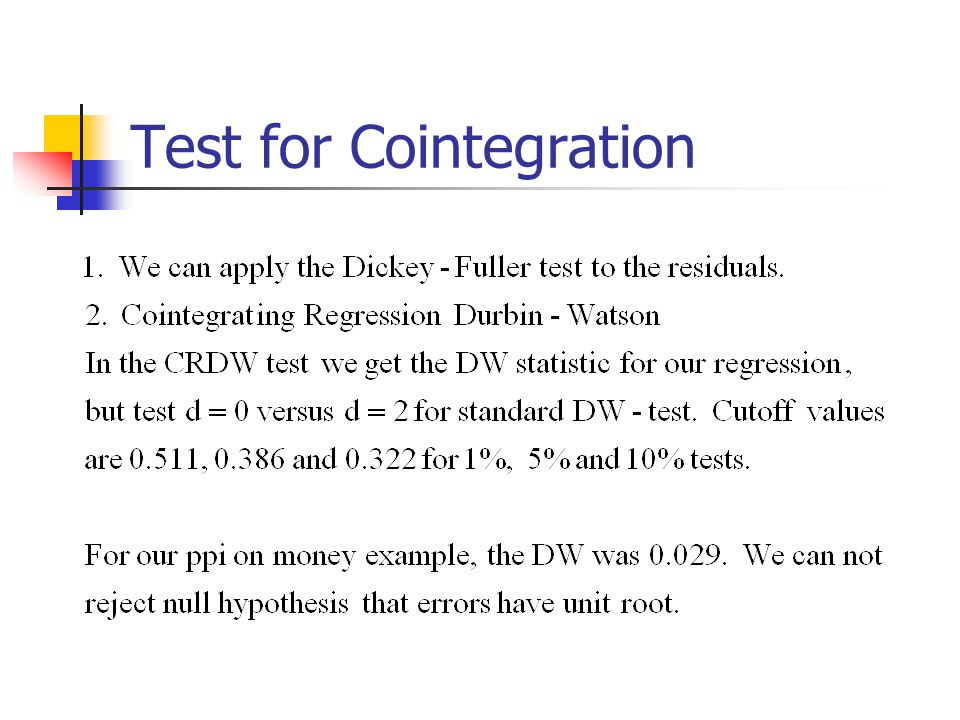 Test for Cointegration