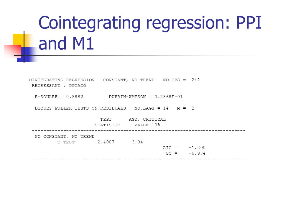 Cointegrating regression: PPI and M1