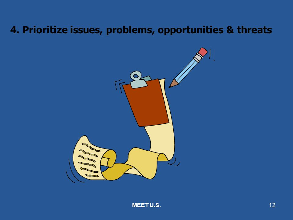 4. Prioritize issues, problems, opportunities & threats