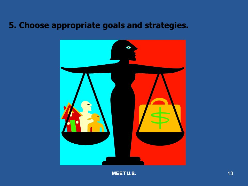 5. Choose appropriate goals and strategies.