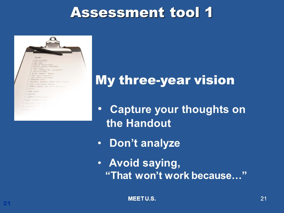 Assessment tool 1 My three-year vision