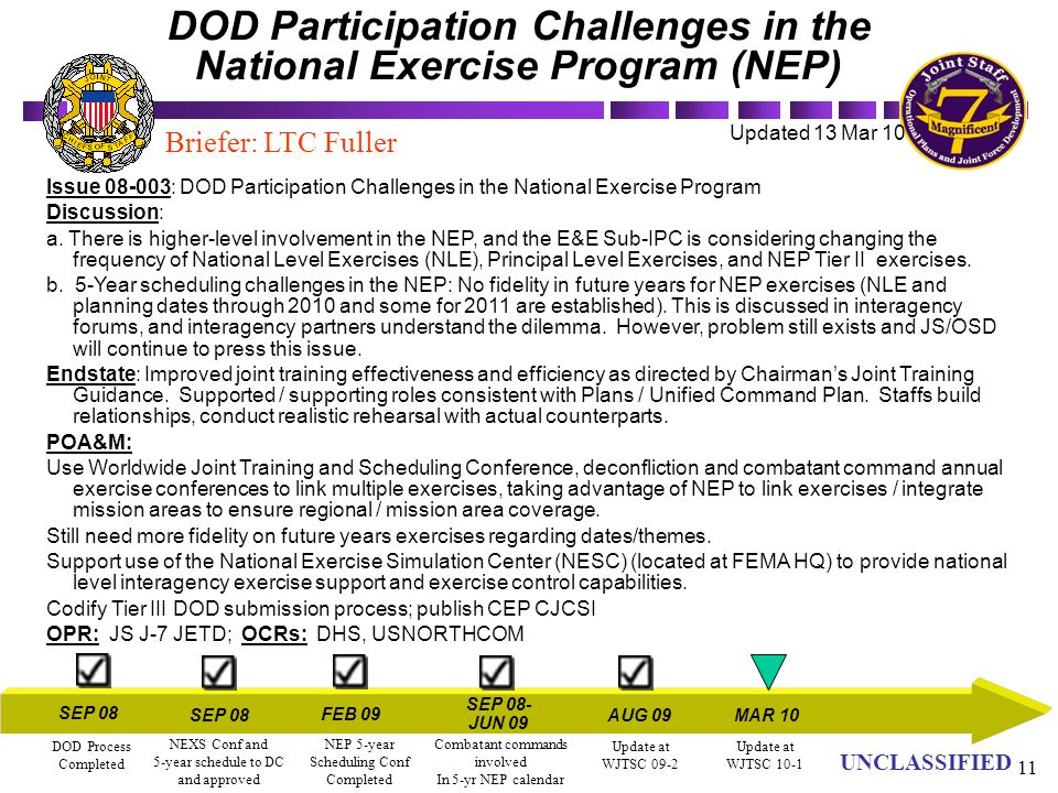 DOD Participation Challenges in the National Exercise Program (NEP)