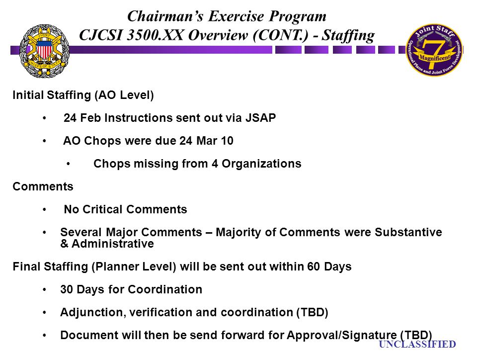 Chairman's Exercise Program CJCSI 3500.XX Overview (CONT.) - Staffing