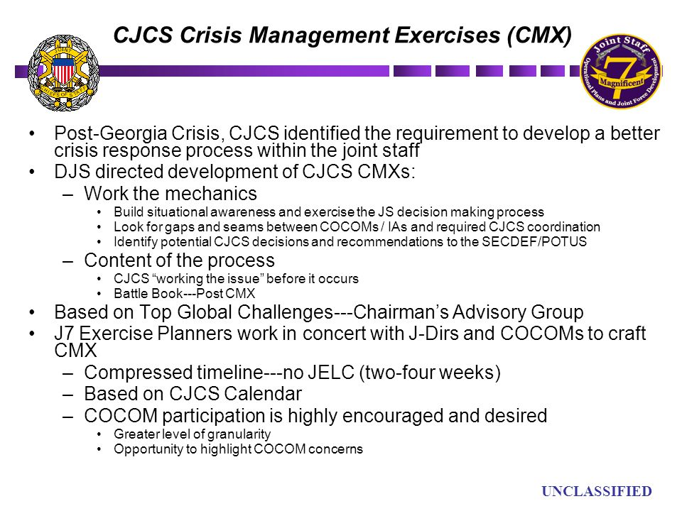 CJCS Crisis Management Exercises (CMX)