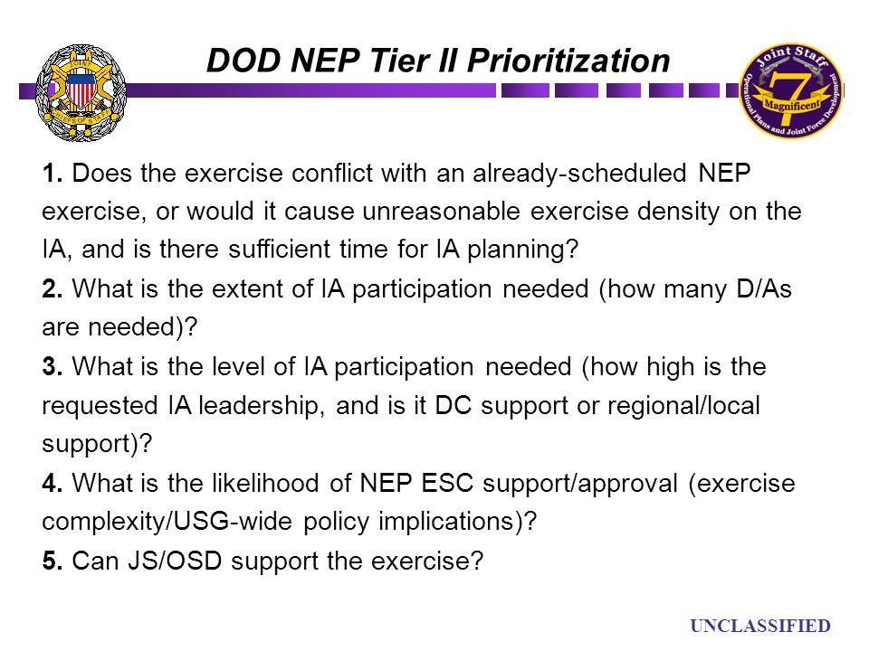DOD NEP Tier II Prioritization