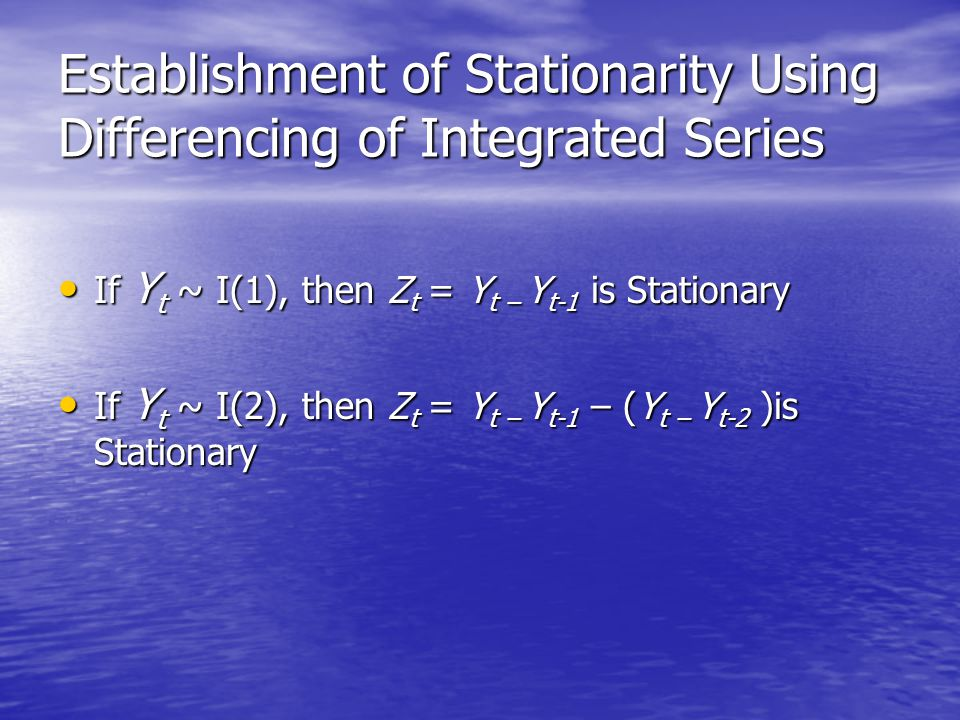 Establishment of Stationarity Using Differencing of Integrated Series