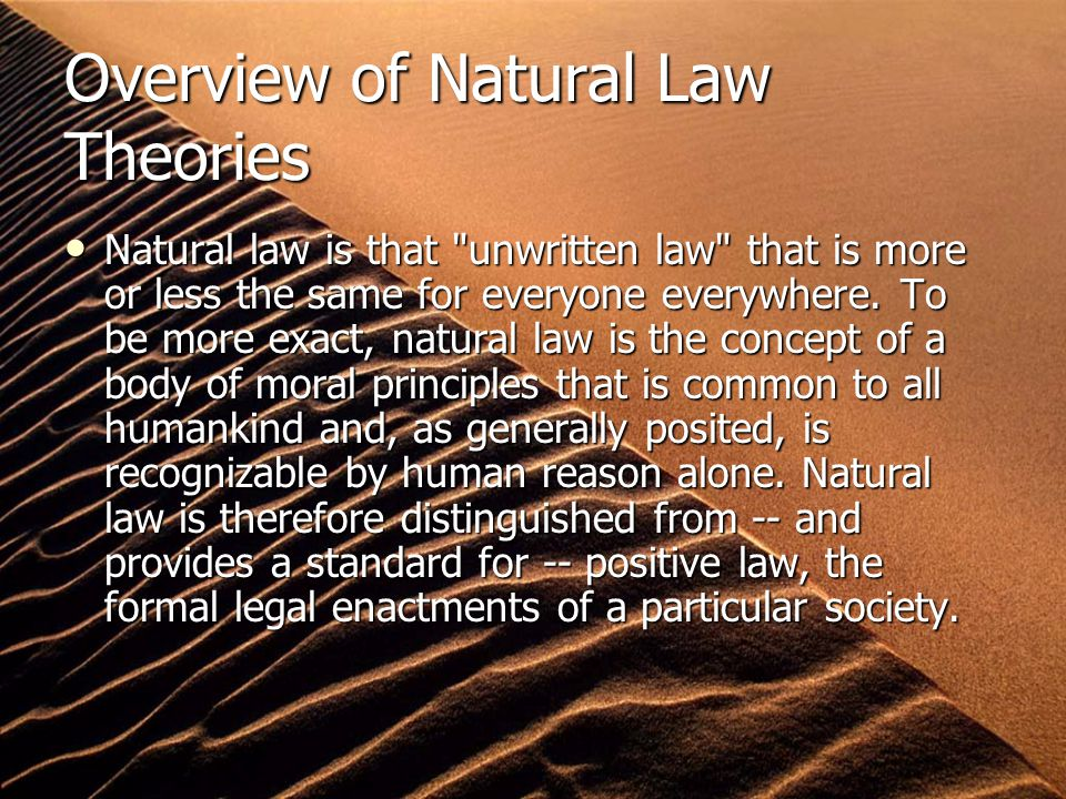 Overview of Natural Law Theories