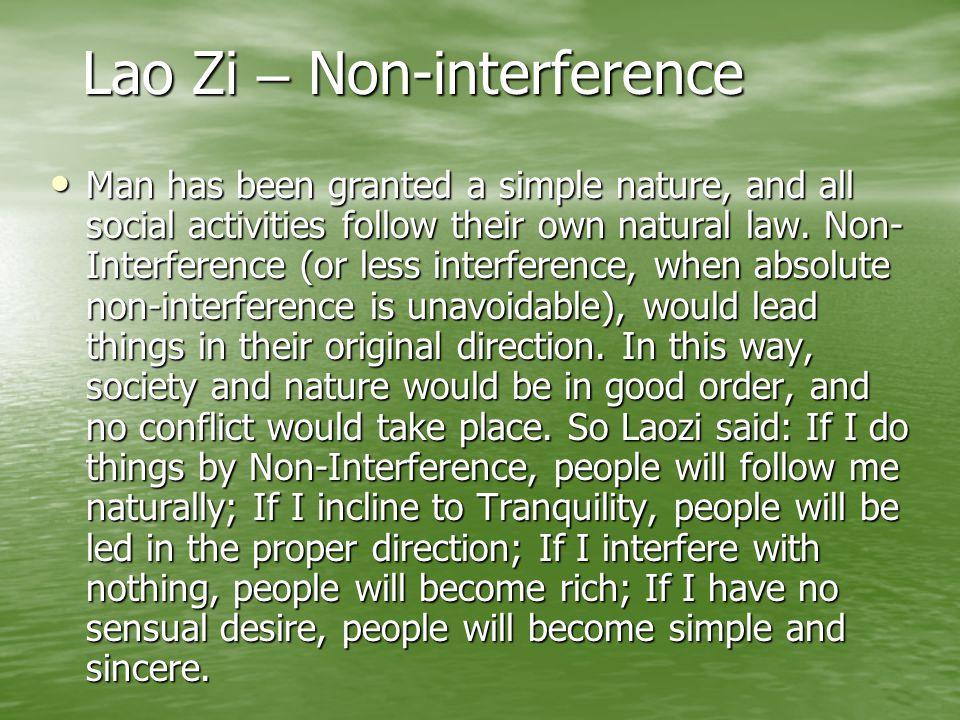 Lao Zi – Non-interference