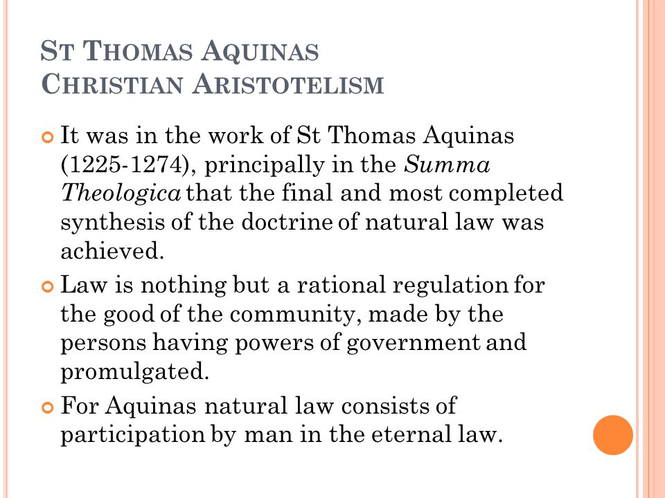 St Thomas Aquinas Christian Aristotelism
