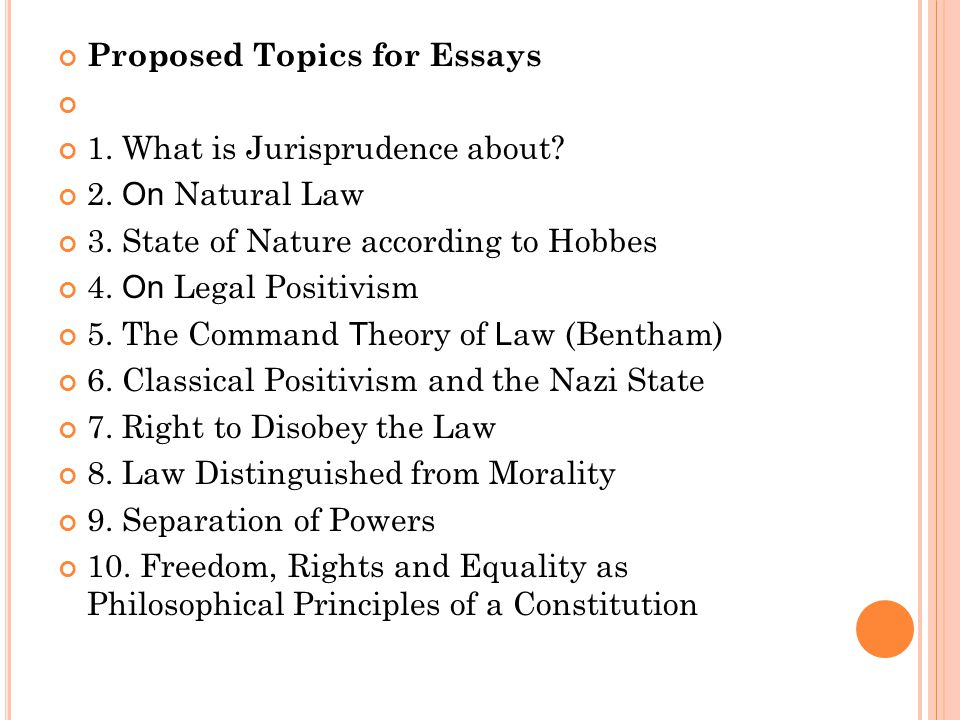 jurisprudence a brief story by alexander b r o s t l ppt  proposed topics for essays