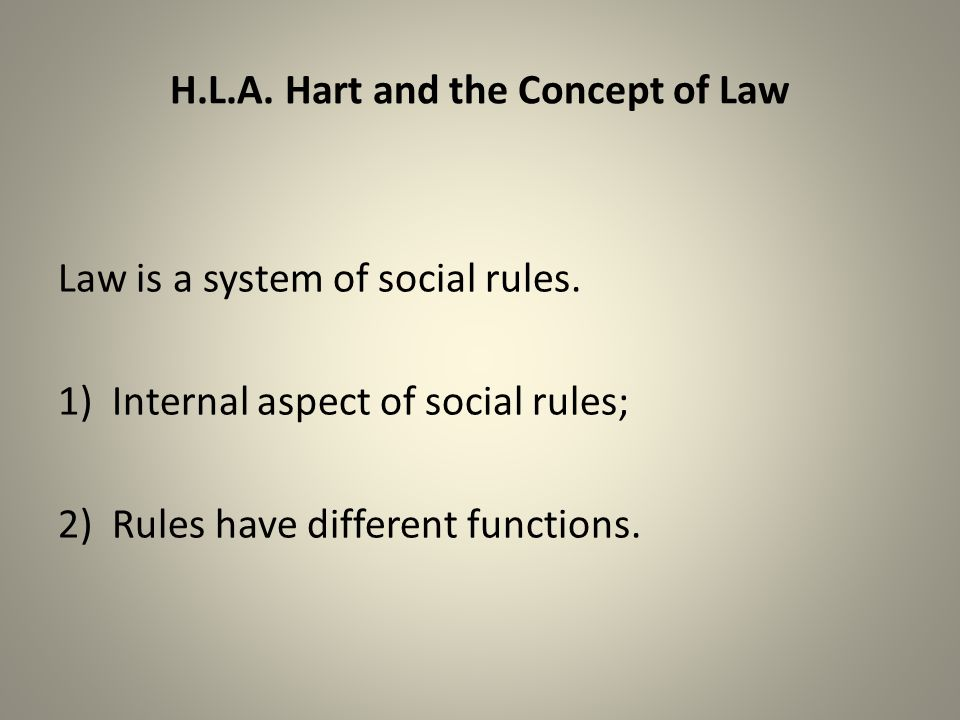 H.L.A. Hart and the Concept of Law