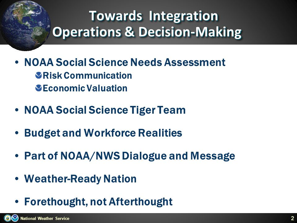 Towards Integration Operations & Decision-Making