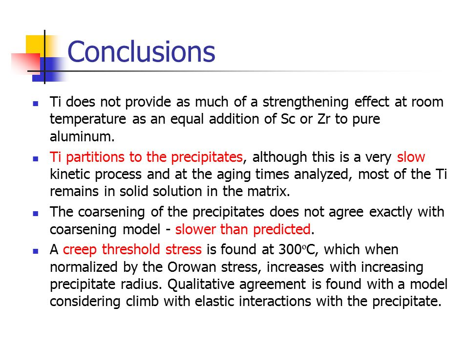 Conclusions Ti does not provide as much of a strengthening effect at room temperature as an equal addition of Sc or Zr to pure aluminum.
