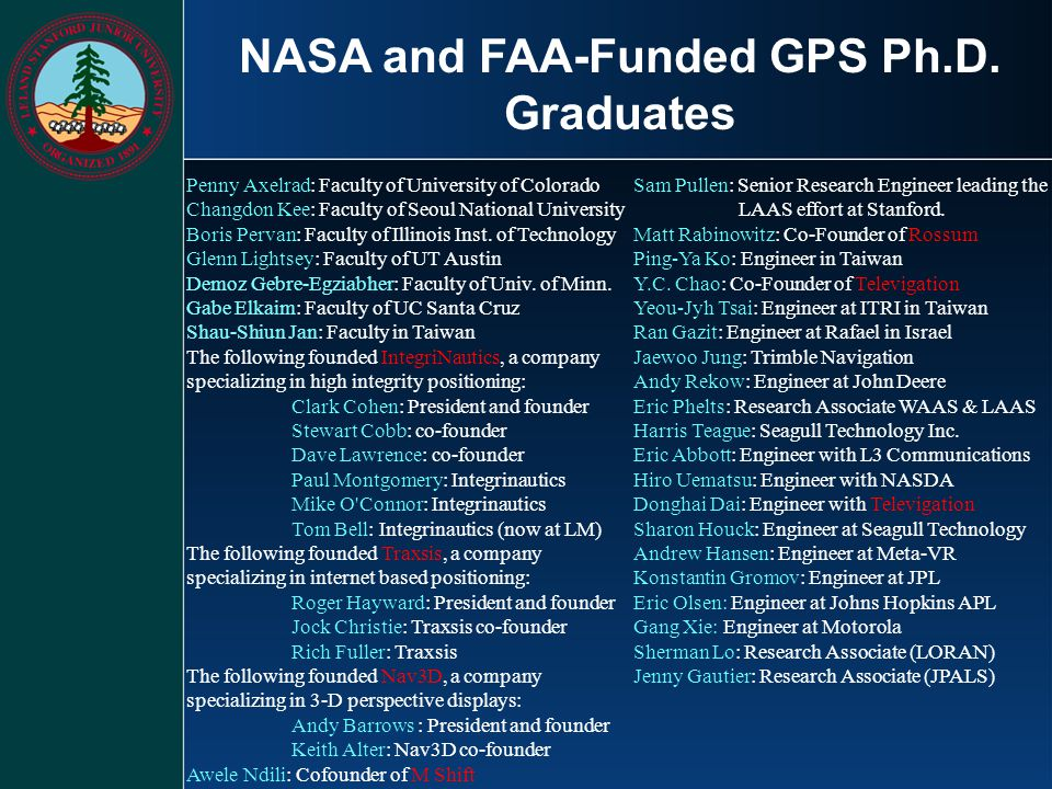 NASA and FAA-Funded GPS Ph.D. Graduates
