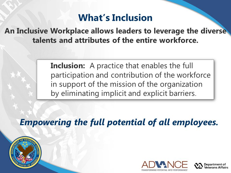 What's Inclusion Empowering the full potential of all employees.