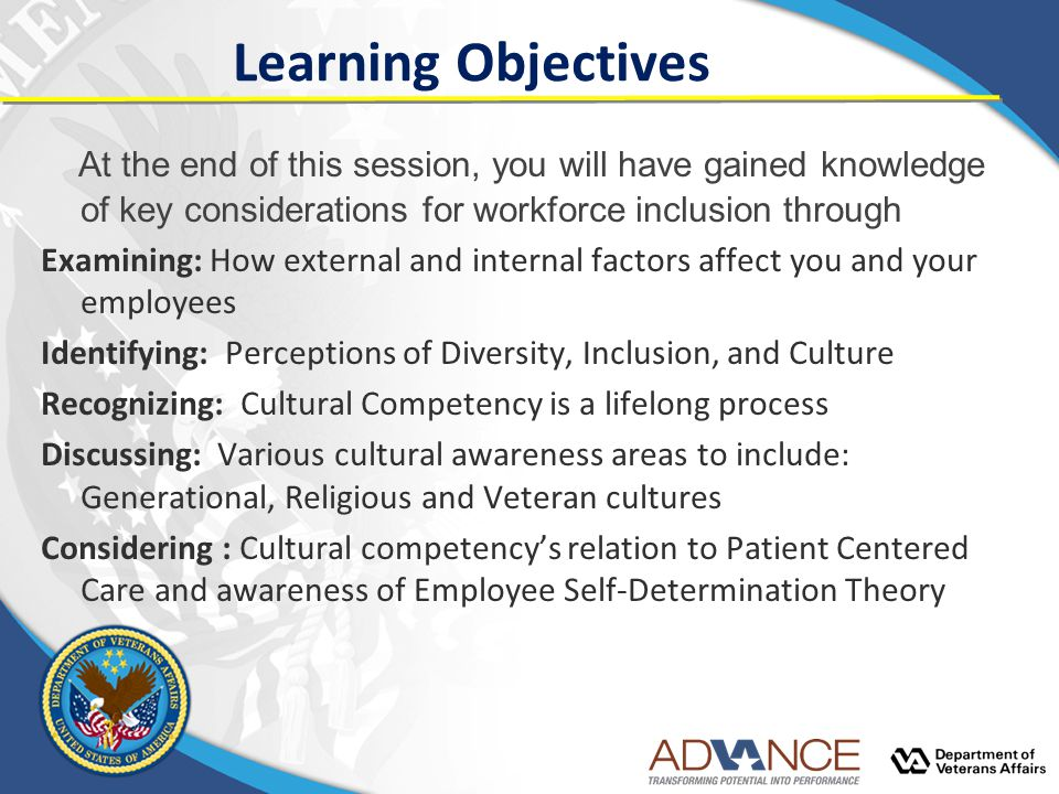 Learning Objectives At the end of this session, you will have gained knowledge of key considerations for workforce inclusion through.