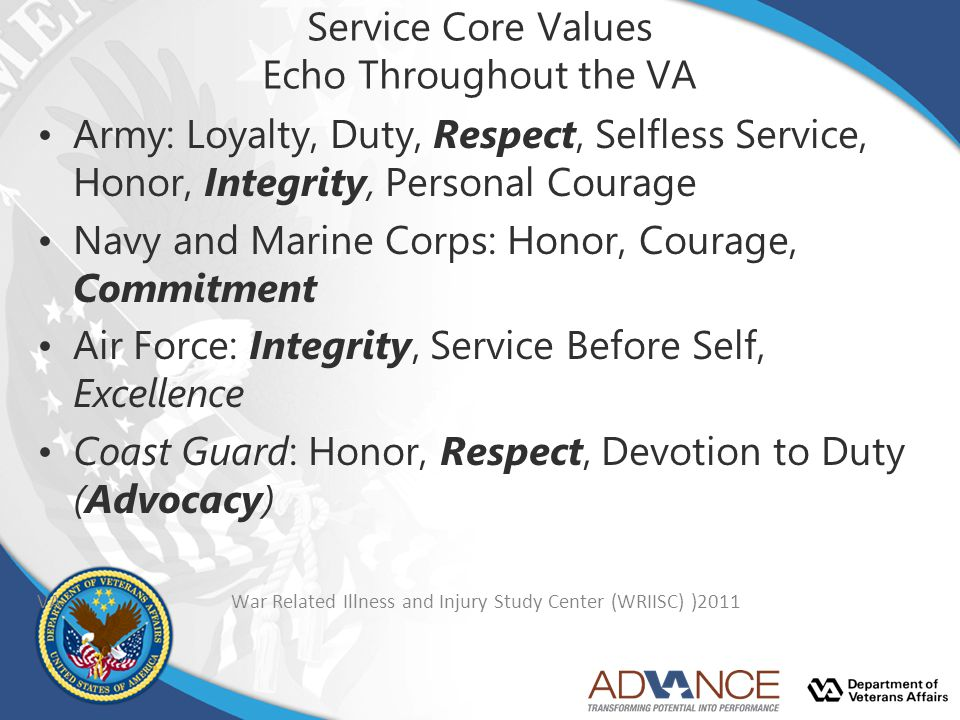 Service Core Values Echo Throughout the VA