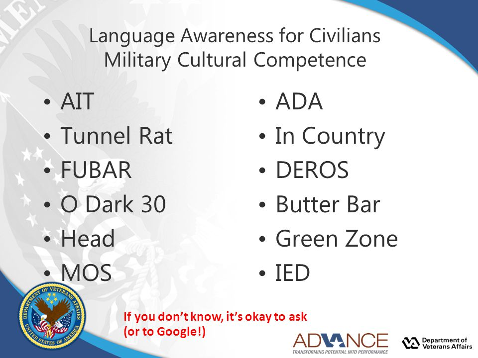 Language Awareness for Civilians Military Cultural Competence