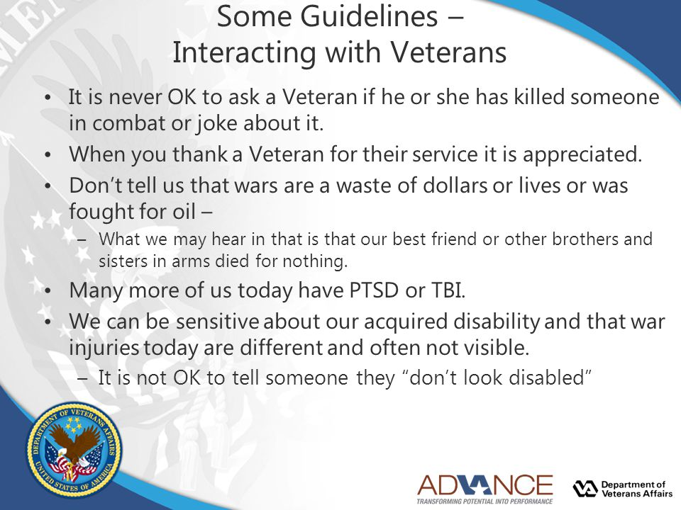 Some Guidelines – Interacting with Veterans