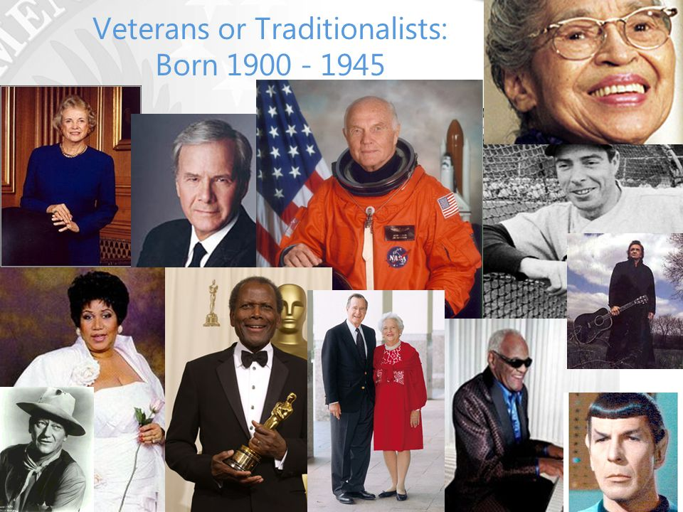 Veterans or Traditionalists: Born 1900 - 1945