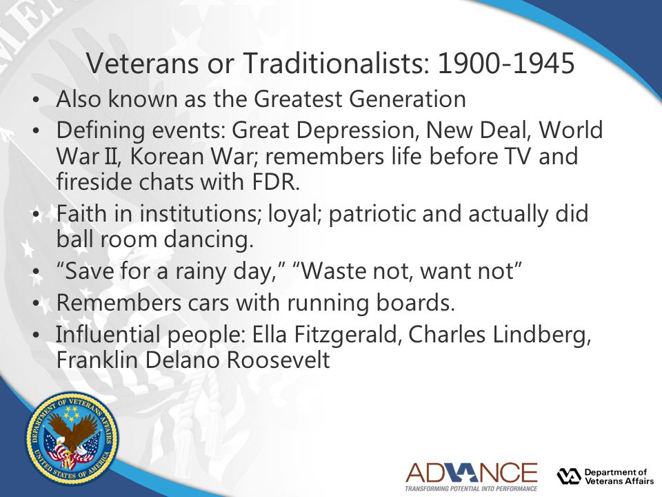 Veterans or Traditionalists: 1900-1945