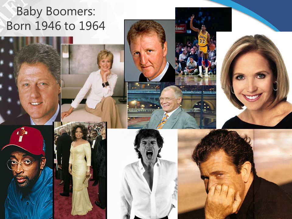 Baby Boomers: Born 1946 to 1964