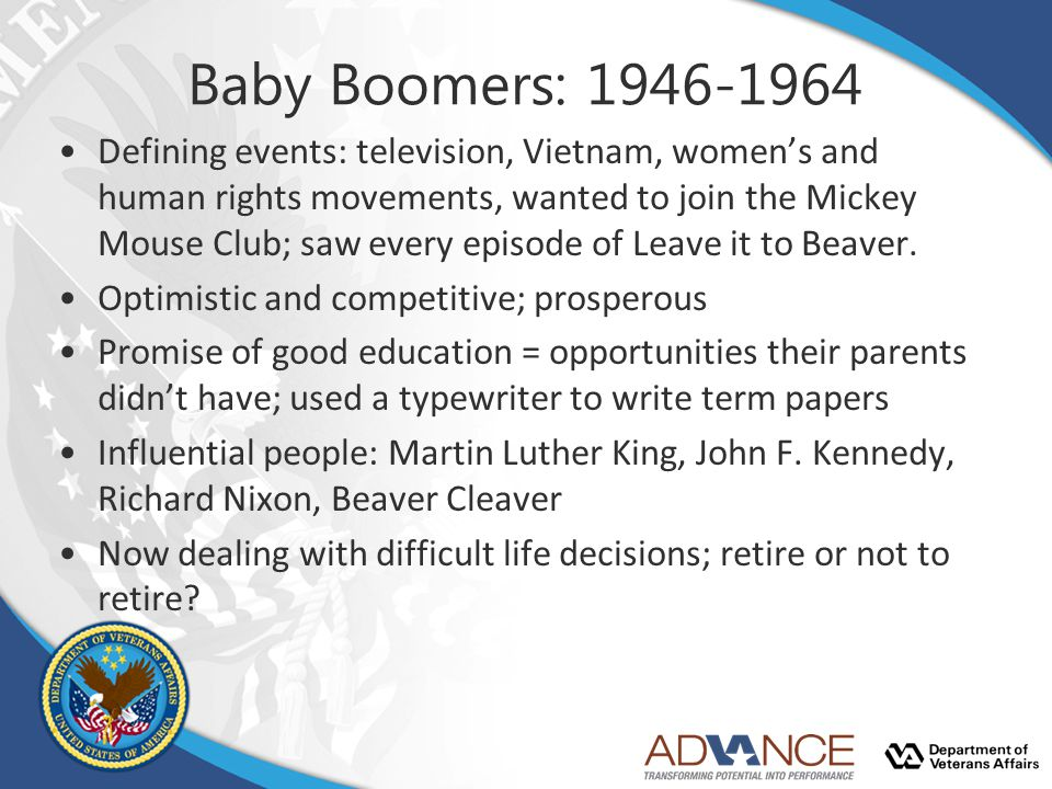 Baby Boomers: 1946-1964