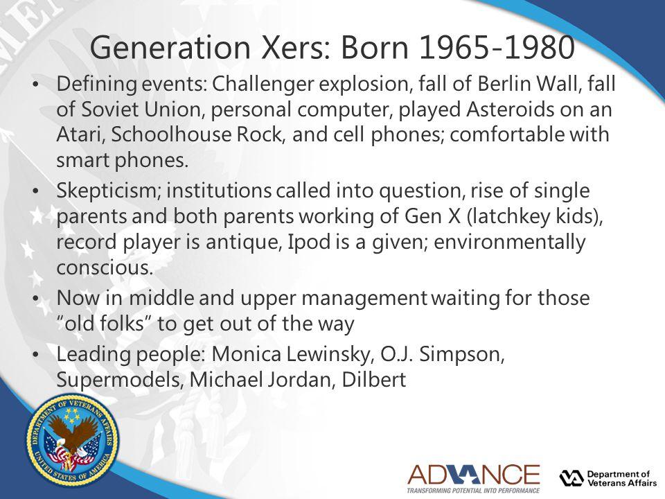 Generation Xers: Born 1965-1980