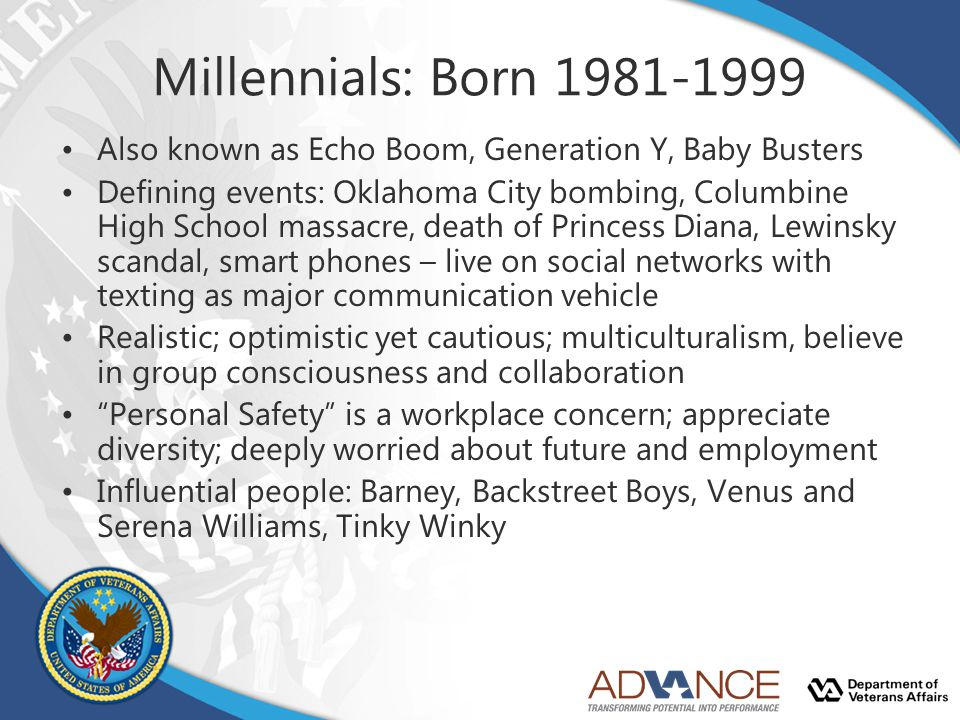 Millennials: Born 1981-1999 Also known as Echo Boom, Generation Y, Baby Busters.