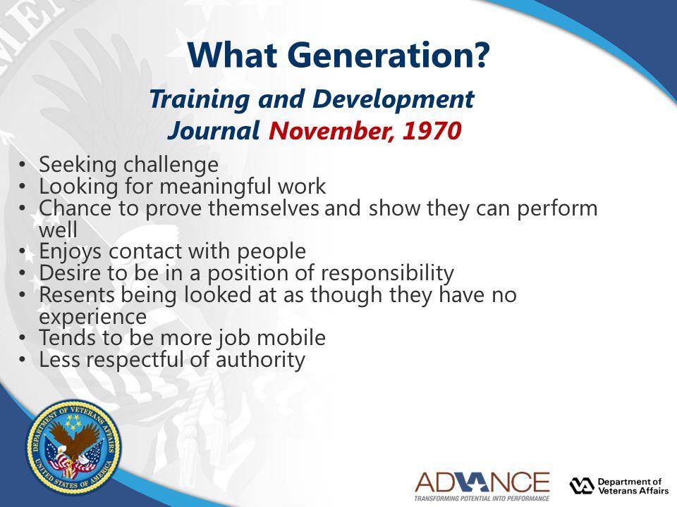 What Generation Training and Development Journal November, 1970